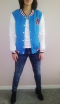 Sky Blue Baseball Jacket - $25